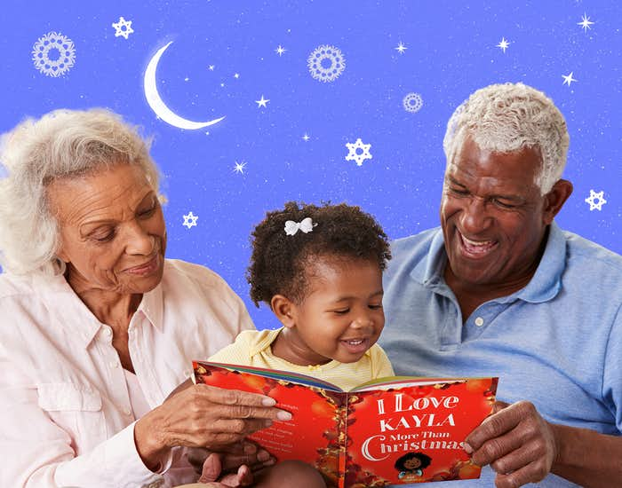Grandparents and grandchild reading I Love You More Than Christmas