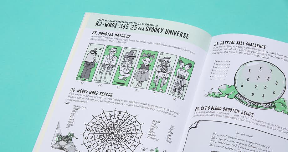 Spread of the book showing a selection of puzzles in the spooky universe.