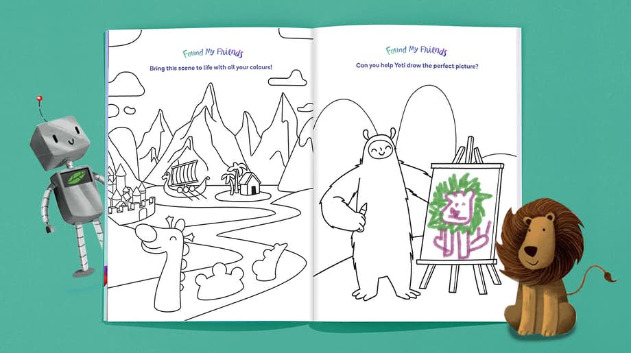 Inside spread of Wonderbly Colouring Book