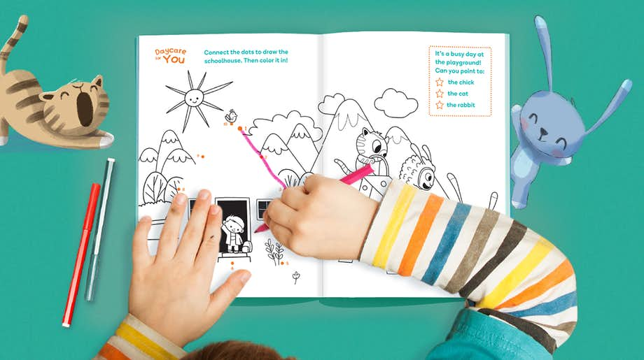 Child using the Wonderbly Coloring Book