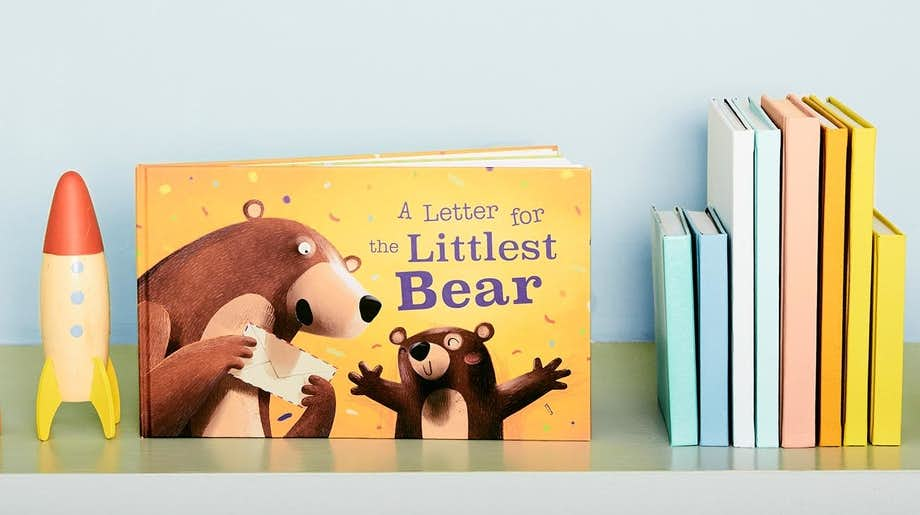 The Littlest Bear book sitting on the child's bookshelf