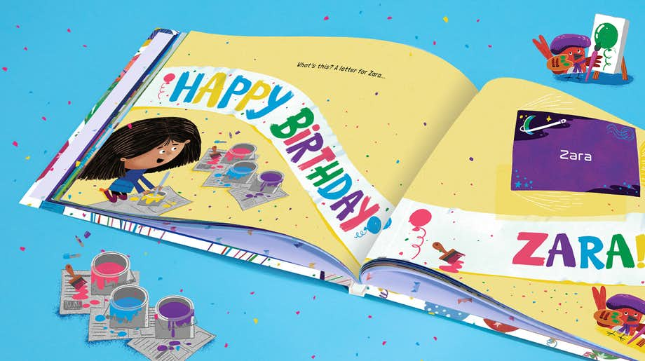 Personalised spread in Happy Bonkers Birthday