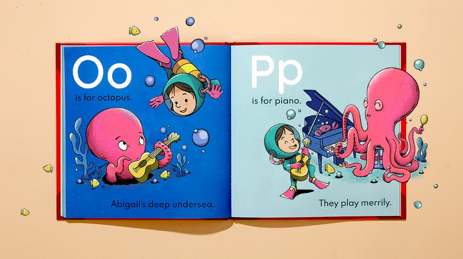 Inside spread of letters O and P showing personalized character and name