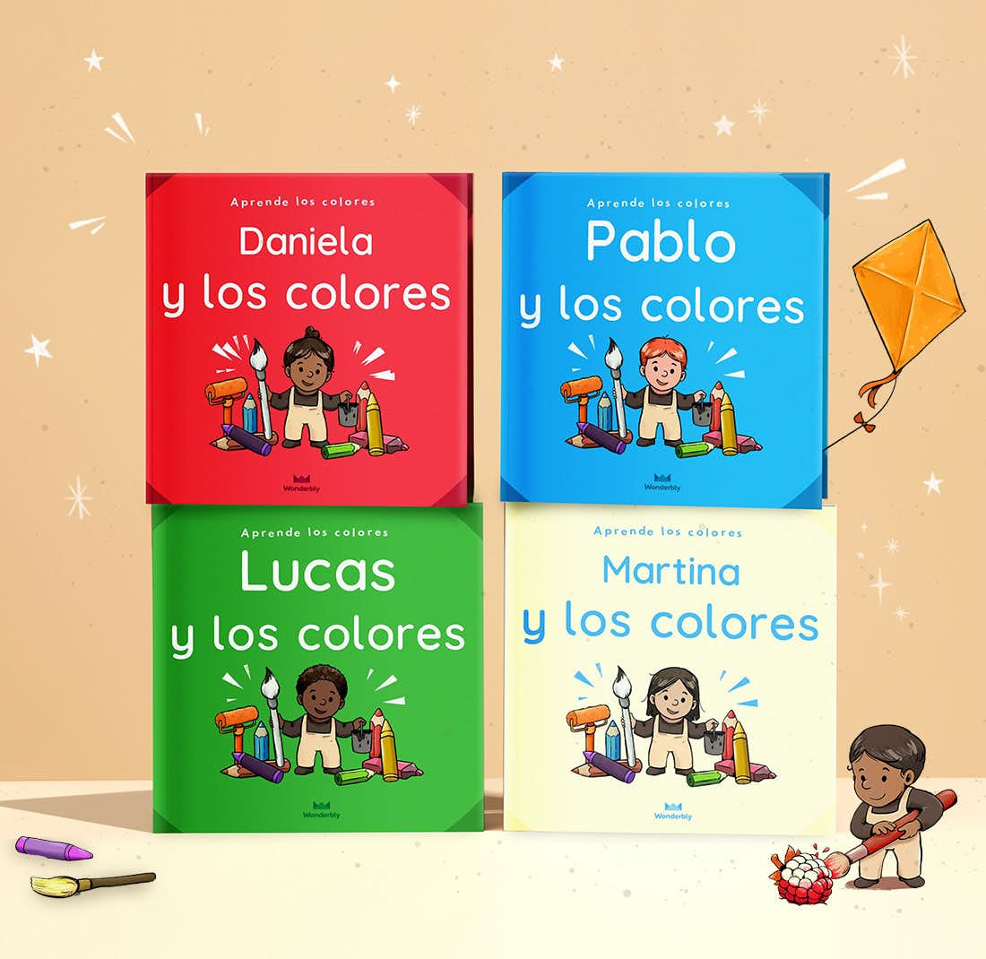 Pila de libros de Tú y los colores en los que se ve la cubierta