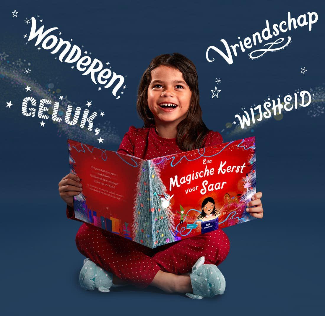 Meisje houdt Een magische kerst voor jou vast