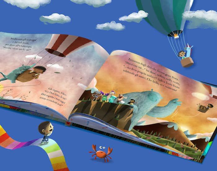 Una pagina interna del libro L'arcobaleno dei sogni