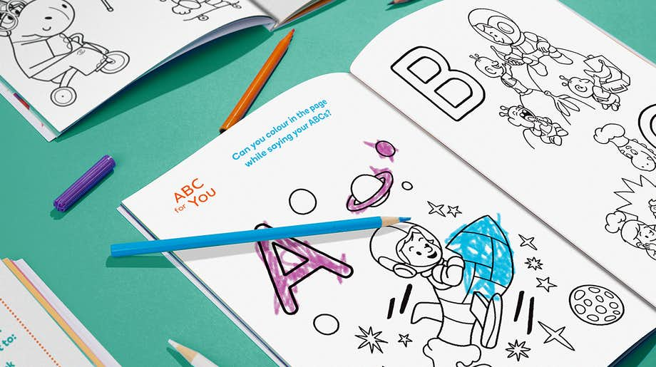 Wonderbly Colouring Book inside spread