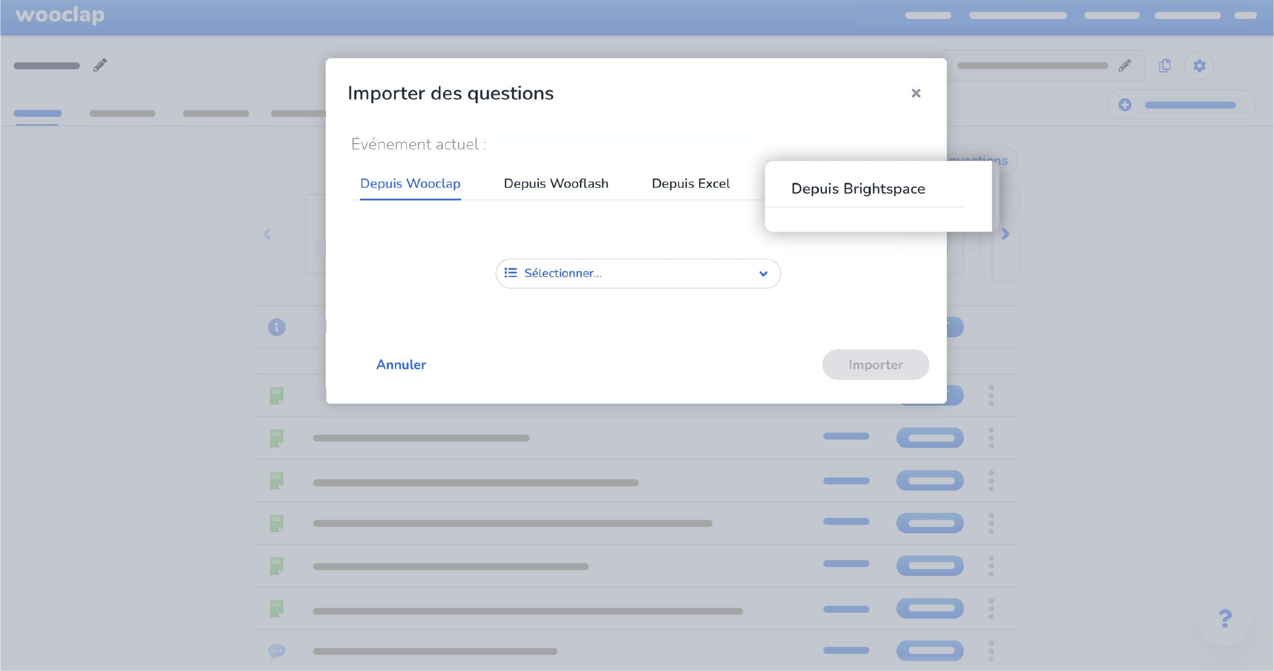 Importer des questions Wooclap depuis Brightspace
