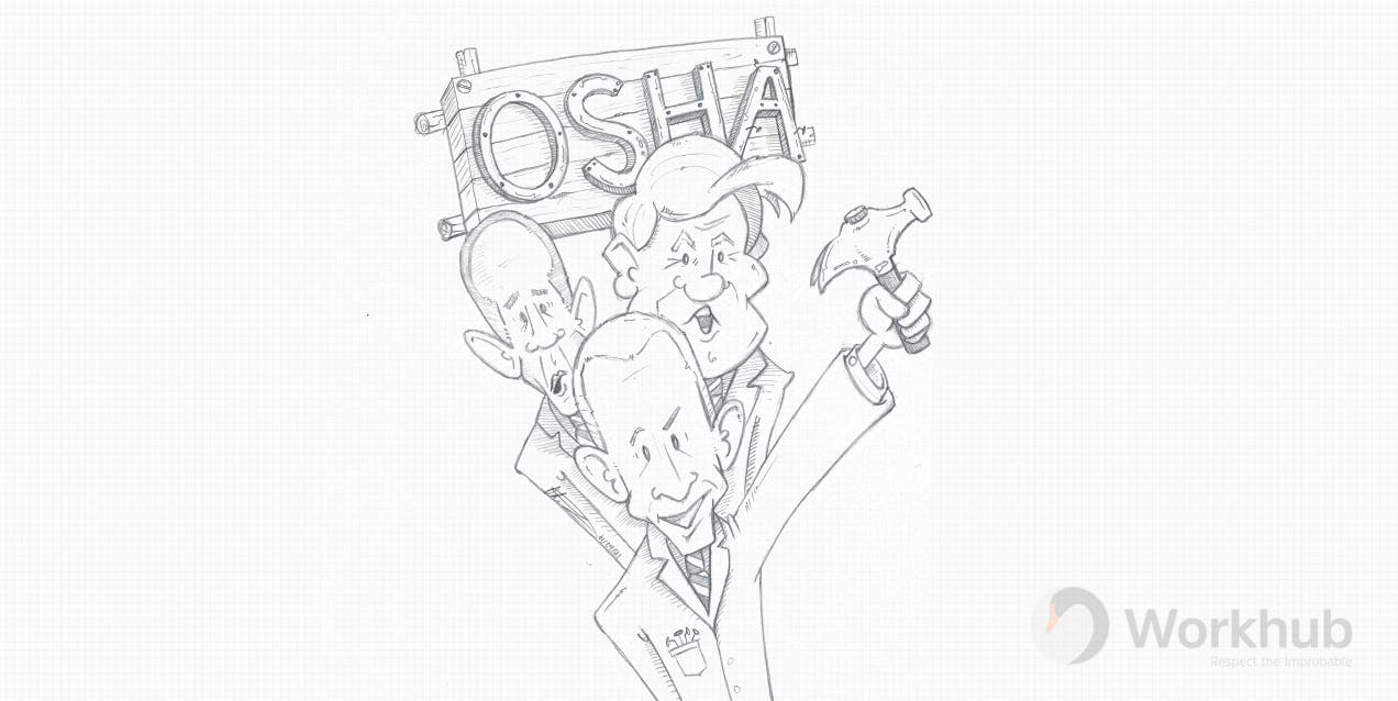 A cartoon of Obama, Trump and Joe Biden standing under a nailed board with OSHA on it.