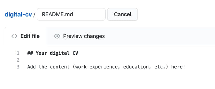 New file is now named README.md. The boilerplate content has been replaced by personal CV information.