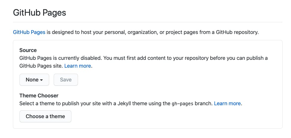 GitHubg pages section of the Settings. This will be described later in the post.