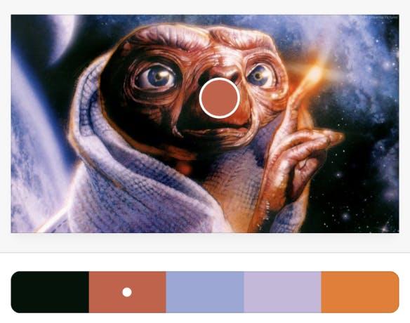 A color palette picker using ET as the original image.