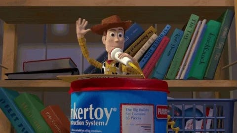 Woody from Toy Story waving