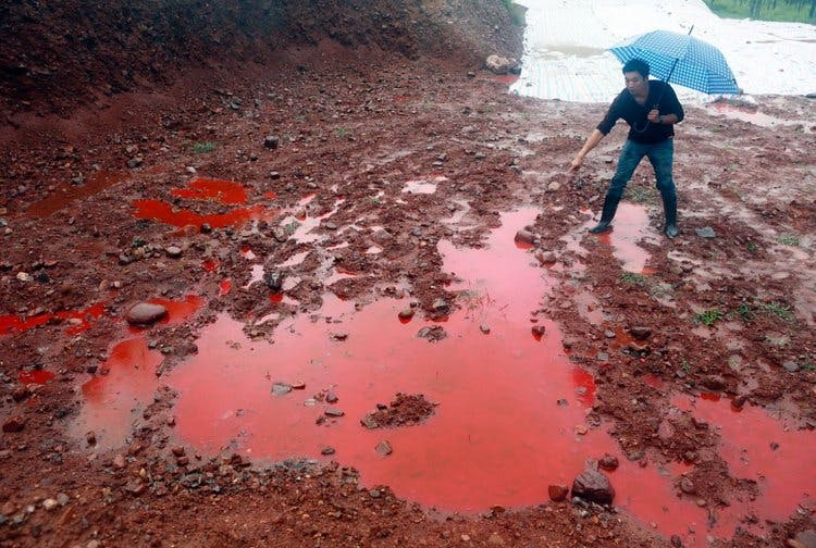 Fast fashion clothing dyes pollute waterwasy. Photograph by Business Insider/Stringer/Reuters