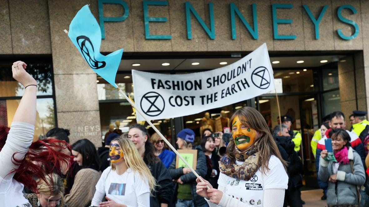 Extinction rebellion takes on fast fashion in Dublin, Ireland. Photograph by Brian Lawless/PA