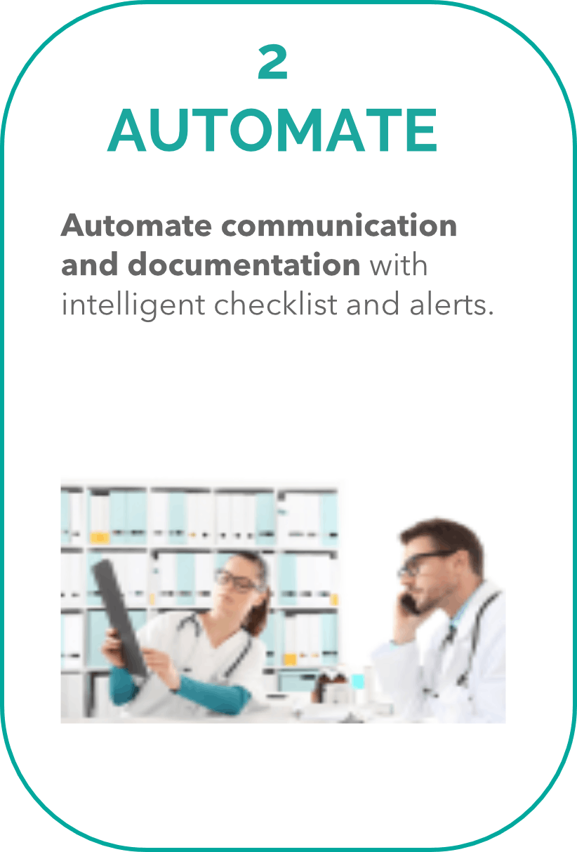2. Automate Automate communication and documentation with intelligent checklist and alerts.
