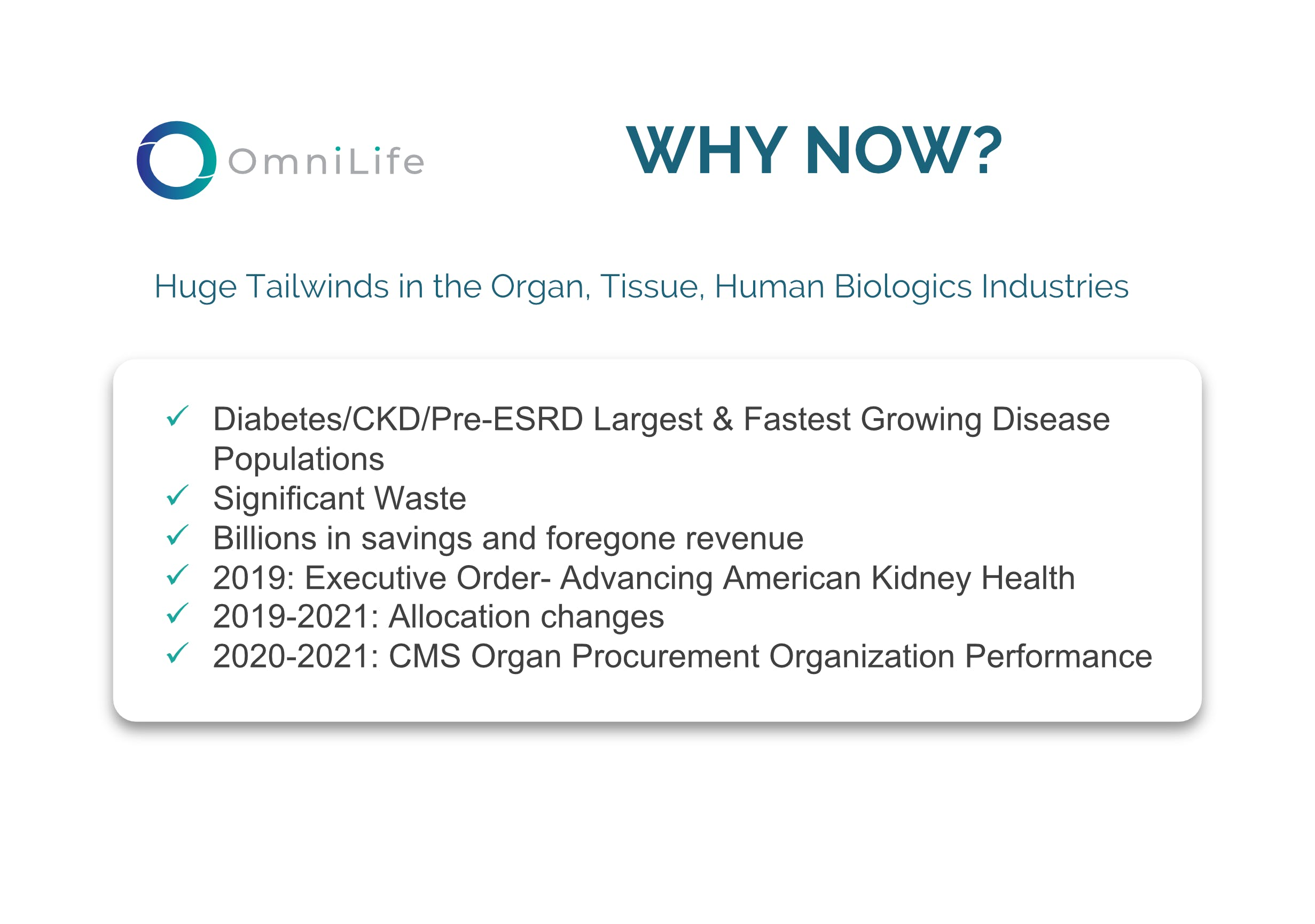 Huge tailwinds in the organ, tissue, human biologics industries diabetes largest & fastest growing disease populations significant waste billions in savings cms organ procurement organization performance