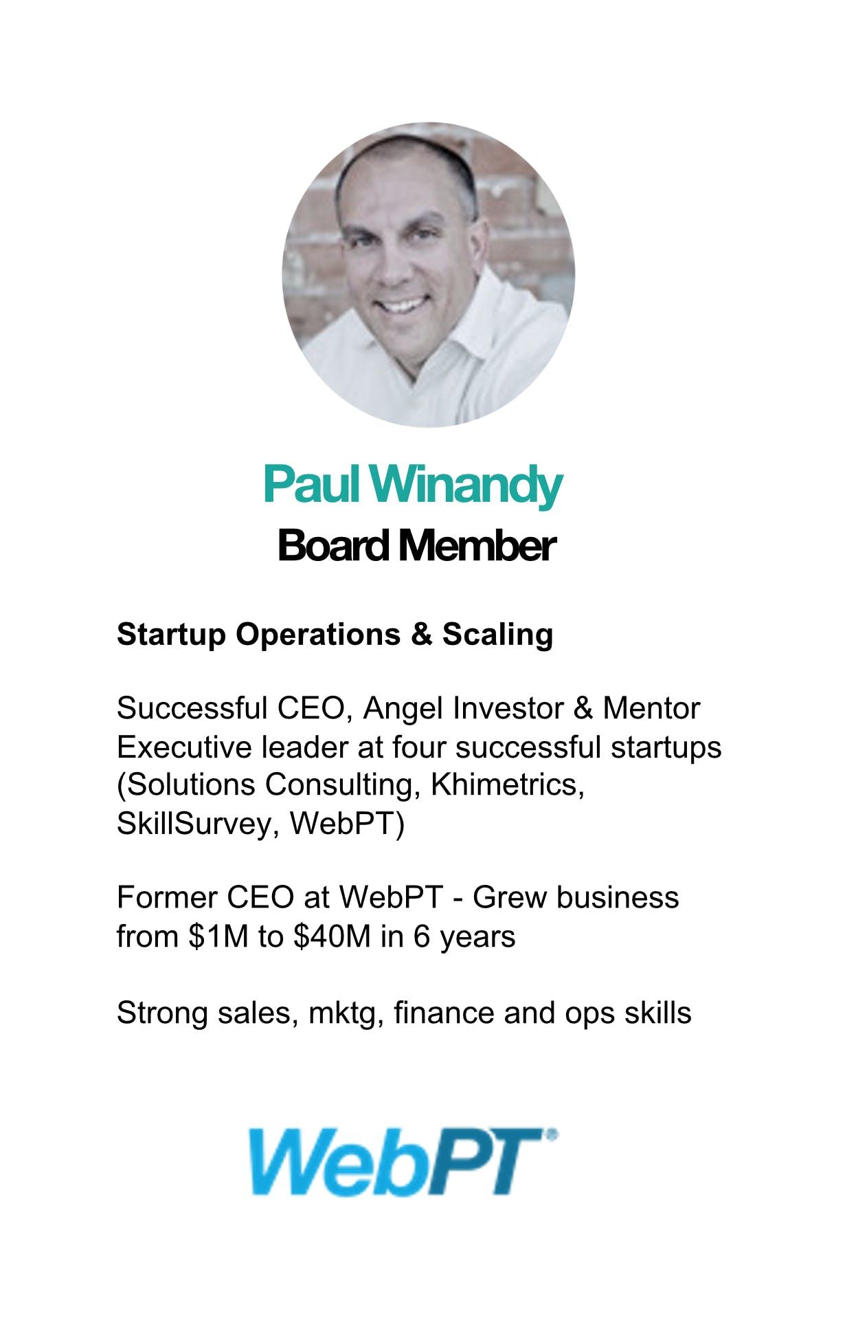 Paul Winandy WebPT CEO
