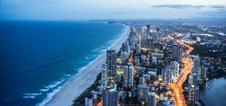 Aerial shot of the Gold Coast at night.