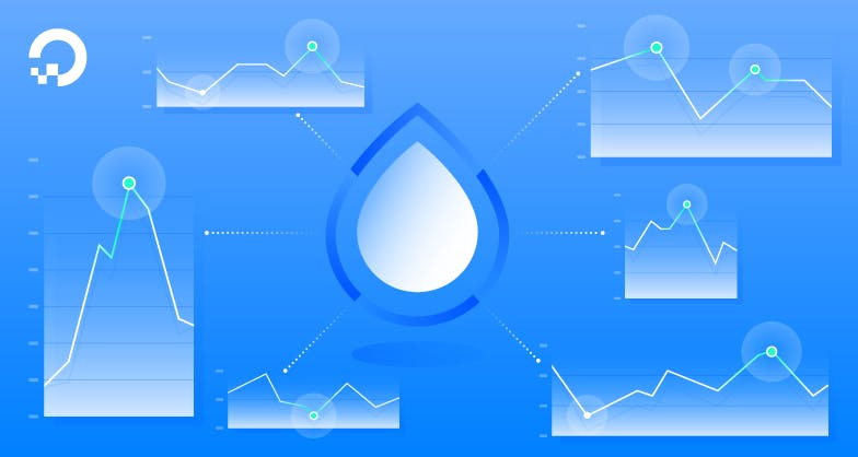 droplets with graphs illustration