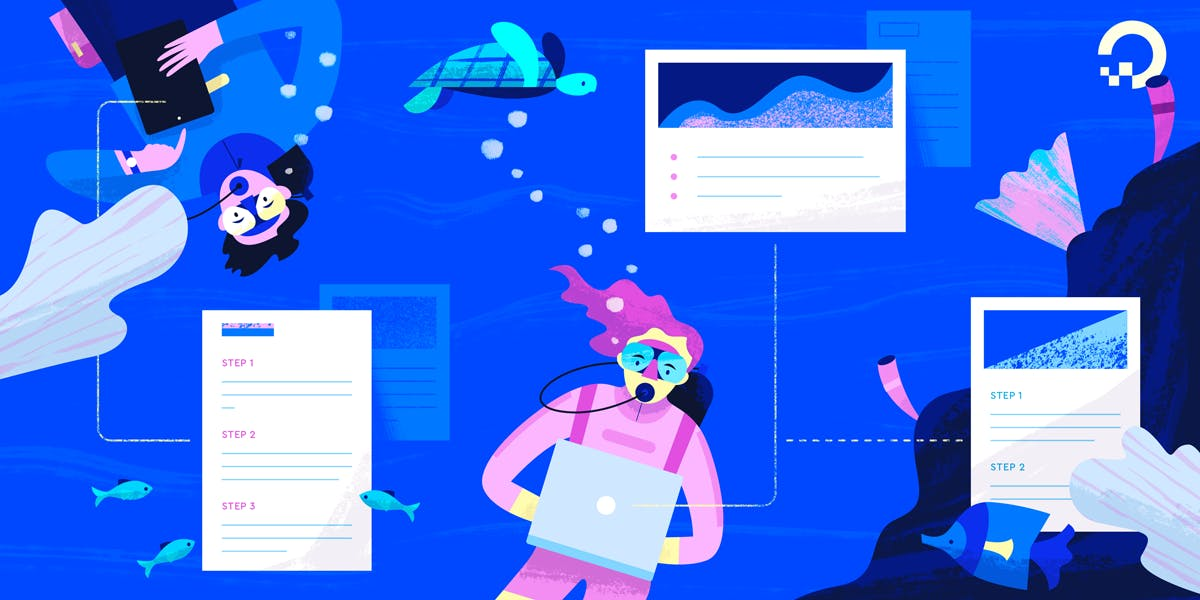 scuba divers on computers illustration