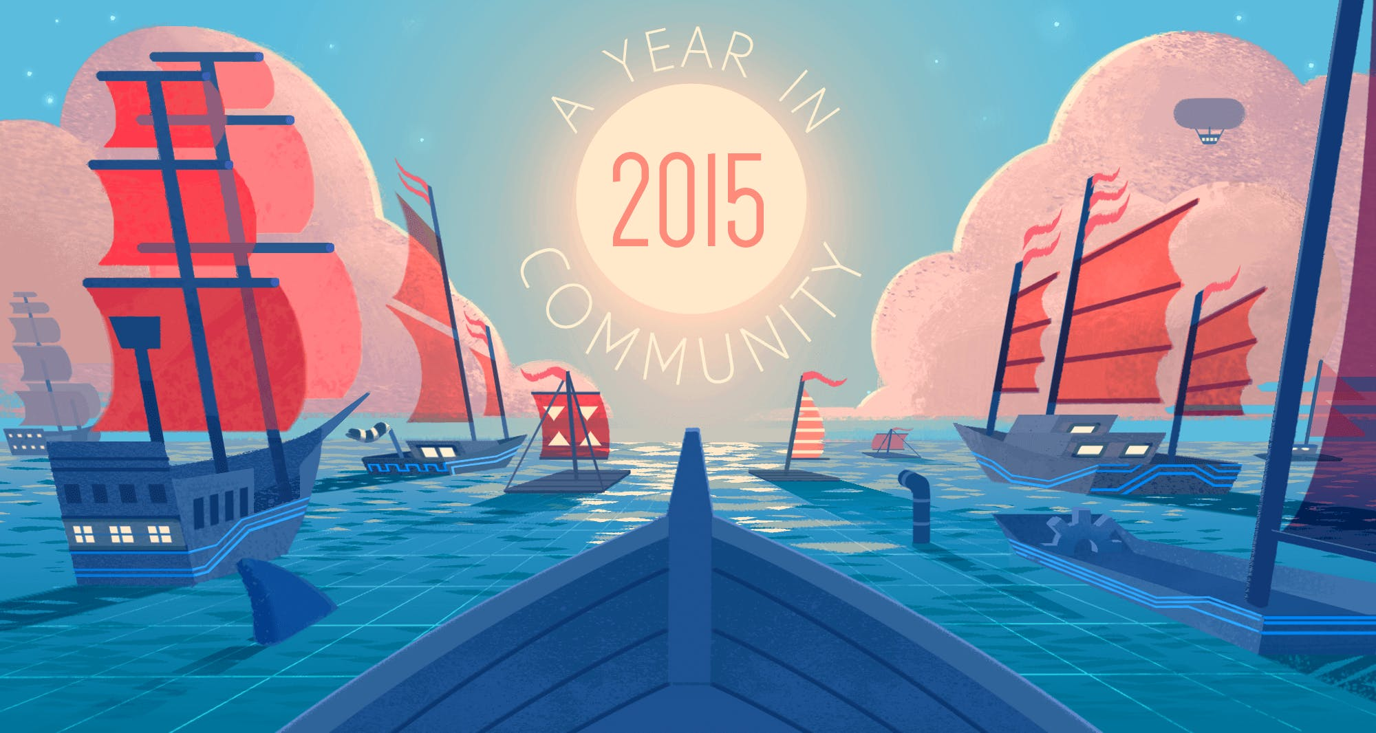 ships sailing into the sun with the words 'A year in 2015 community' illustration