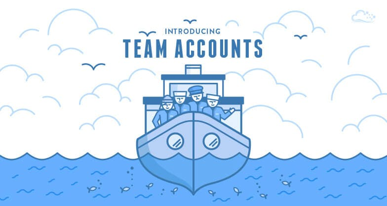 Boat of people with fish illustration and text 'Introducing Team Accounts""