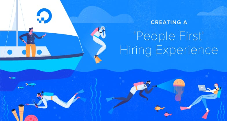people diving off of a boat illustration with words 'Creating A People First Hiring Experience'