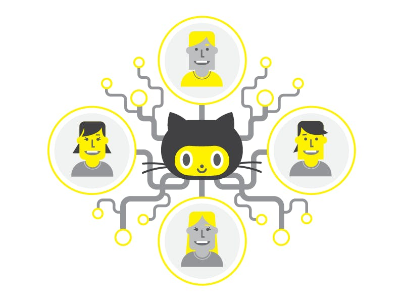 People illustrations connected by github cat illustration in the middle by lines