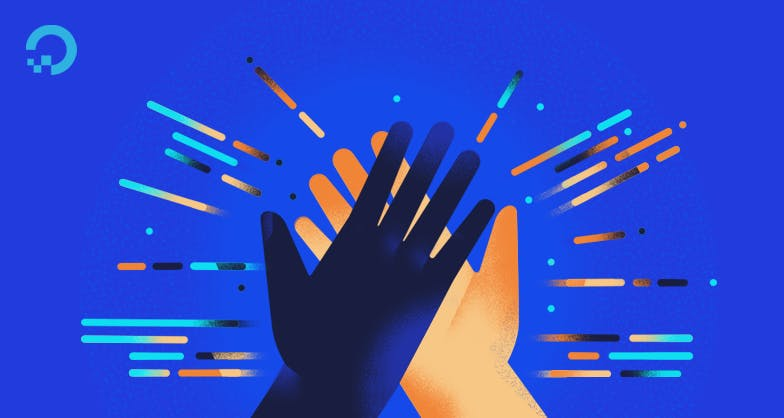 Two hands high fiving illustration