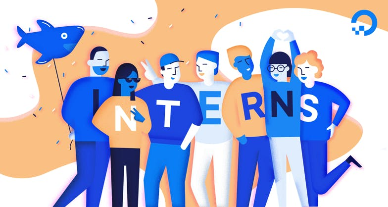 Illustration of people wearing shirts with one letter on them standing together they spell out interns