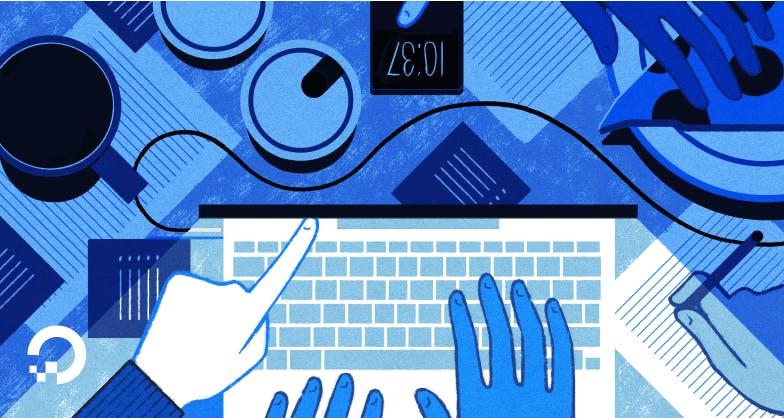 laptop with hands illustration