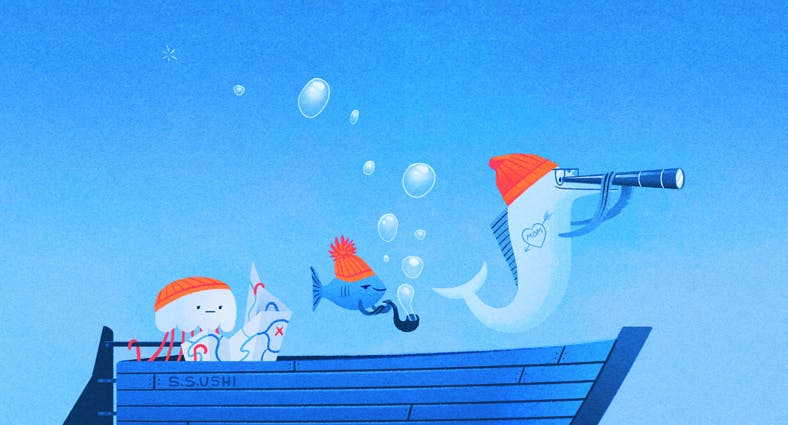 boat with fish and a jellyfish on it in the ocean illustration
