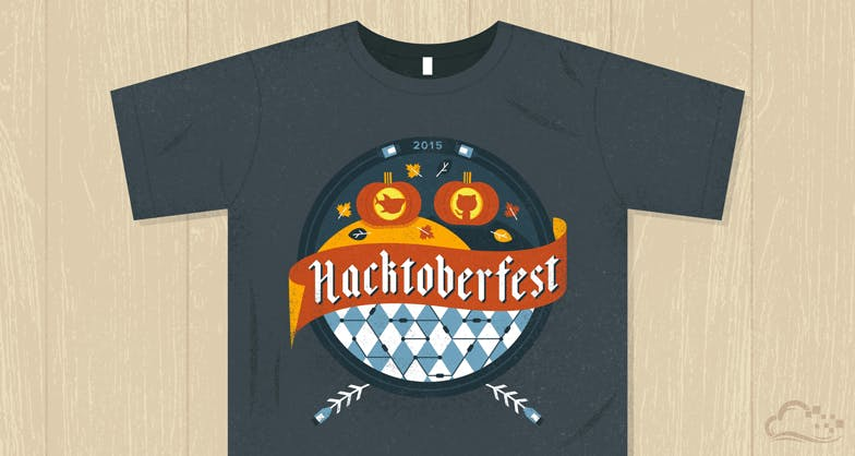 illustration of a tee shirt with hacktoberfest 2015 graphic on it