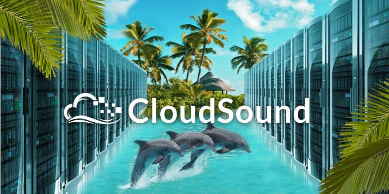 Collage of images with servers in ocean and dolphins jumping in the middle with the logo CloudSound