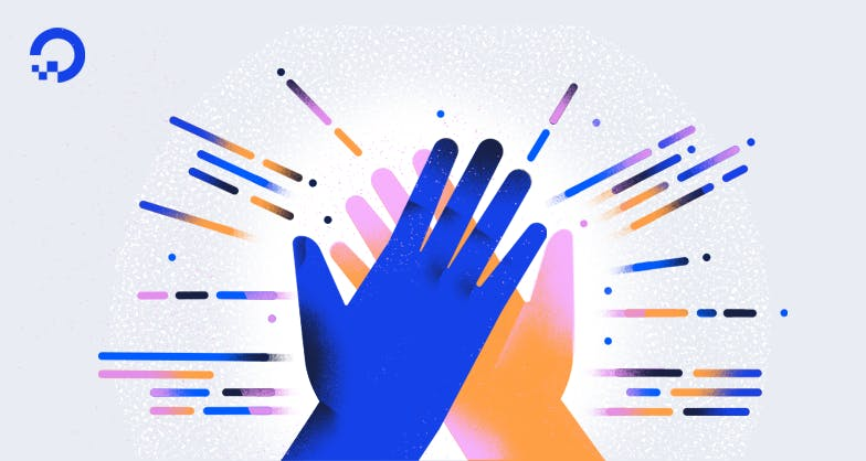 Two hands doing a high five illustration