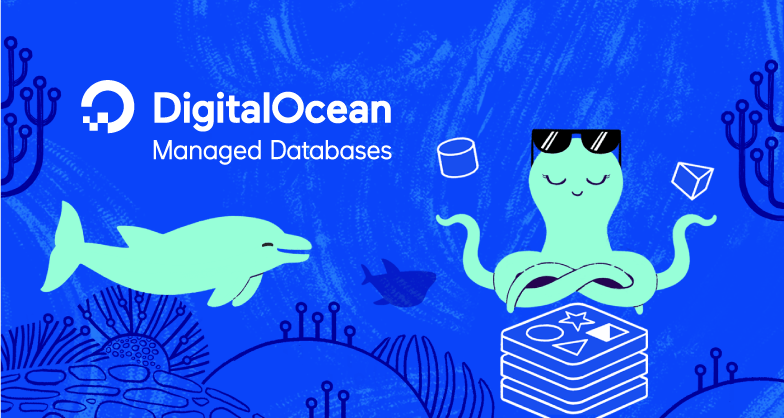 Managed Databases illustration with dolphin and cool octopus