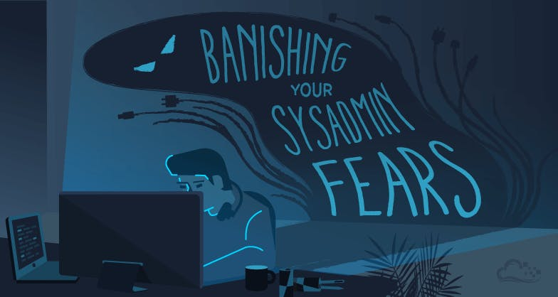 Banishing your sysadmin fears illustration with developer on computer