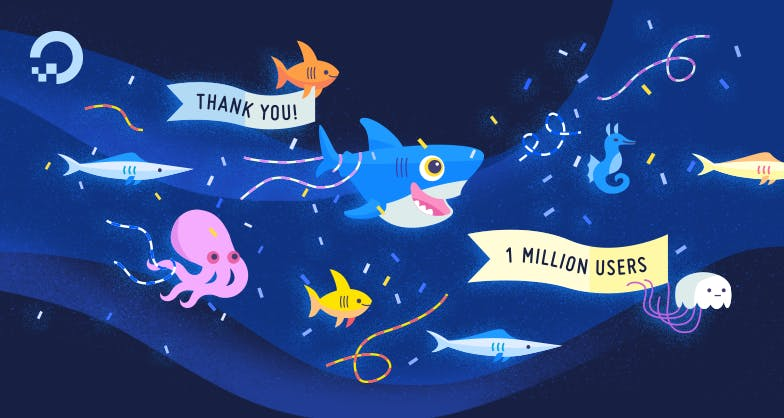 Sea creatures partying with a thank you and 1 million users banner illustration
