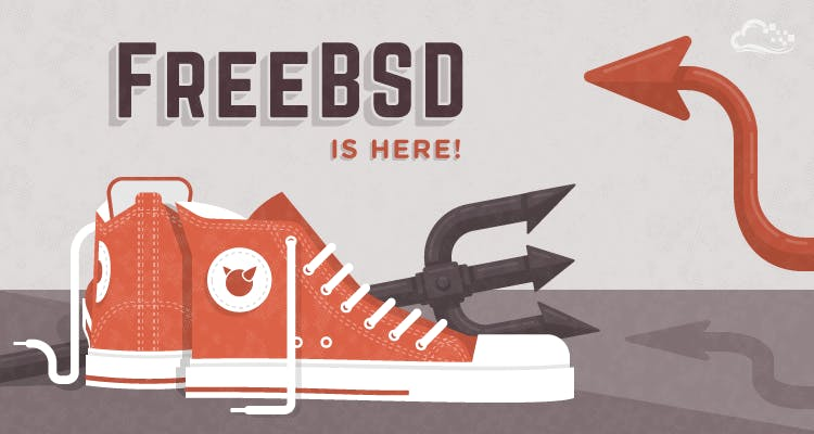 FreeBSD is here text on illustration with red converse style shoes, a pitchfork, and a devil tail