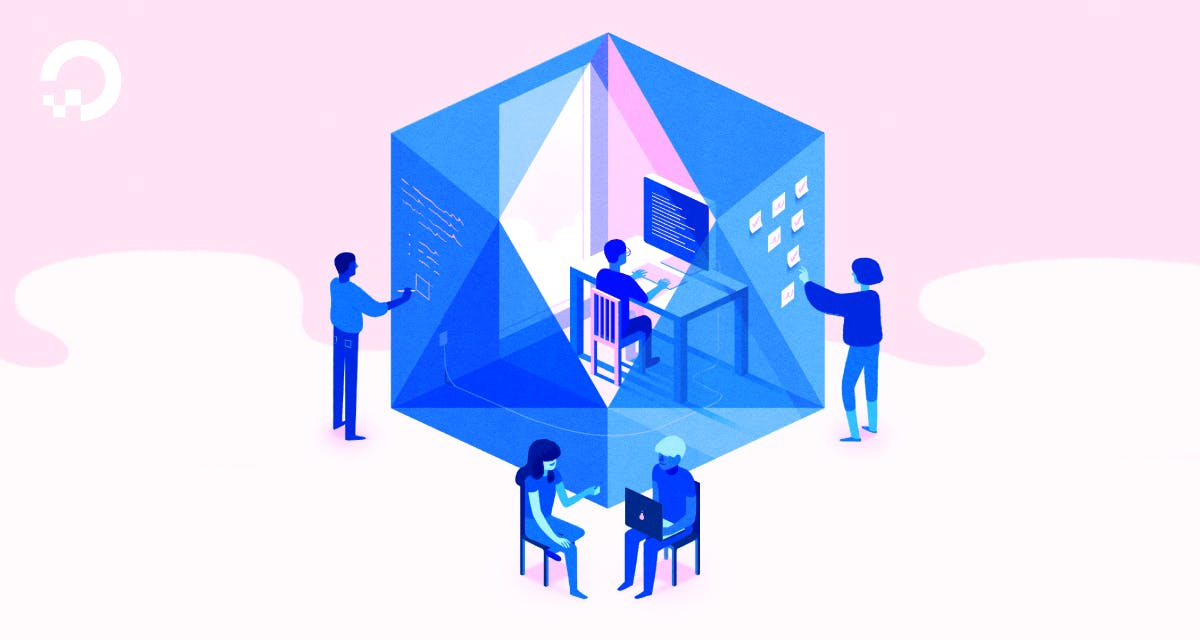 cube with people working illustration