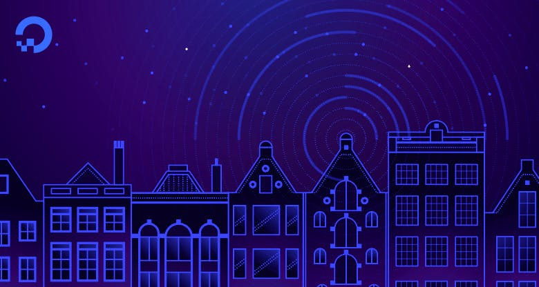 Illustration of night time buildings skyline