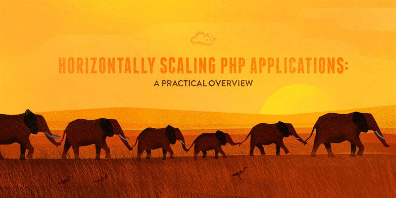 Horizontally Scaling PHP Applications text on illustration of elephants walking linking trunks and tails