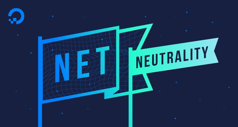 banner flags with the words Net Neutrality illustration
