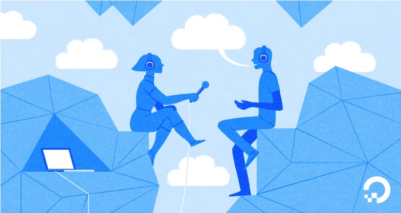 Woman interviewing Man with clouds illustration