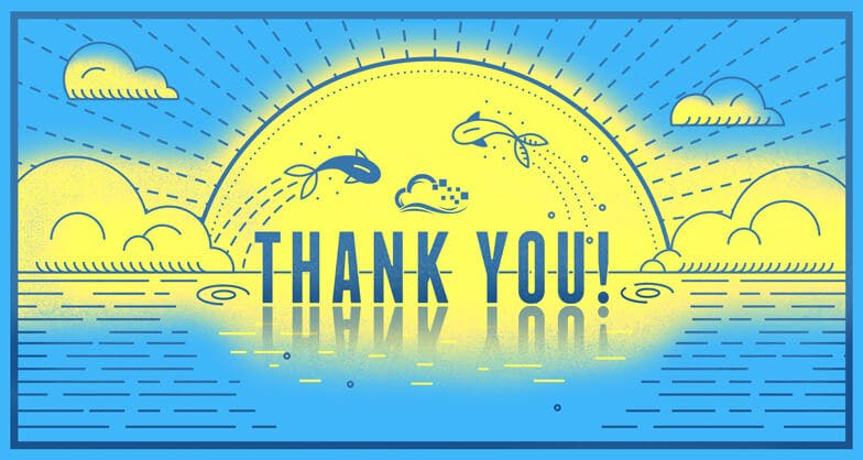 Sunset over ocean with fish jumping over the text 'Thank you!' illustration