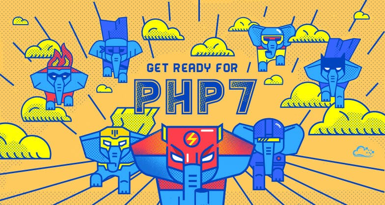 elephant super heros in masks flying with the words 'Get ready for PHP 7'
