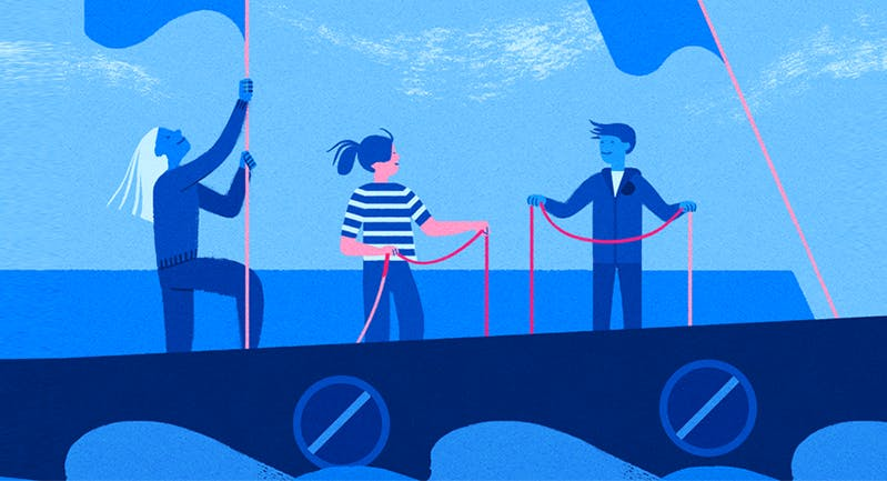 People on a boat illustration