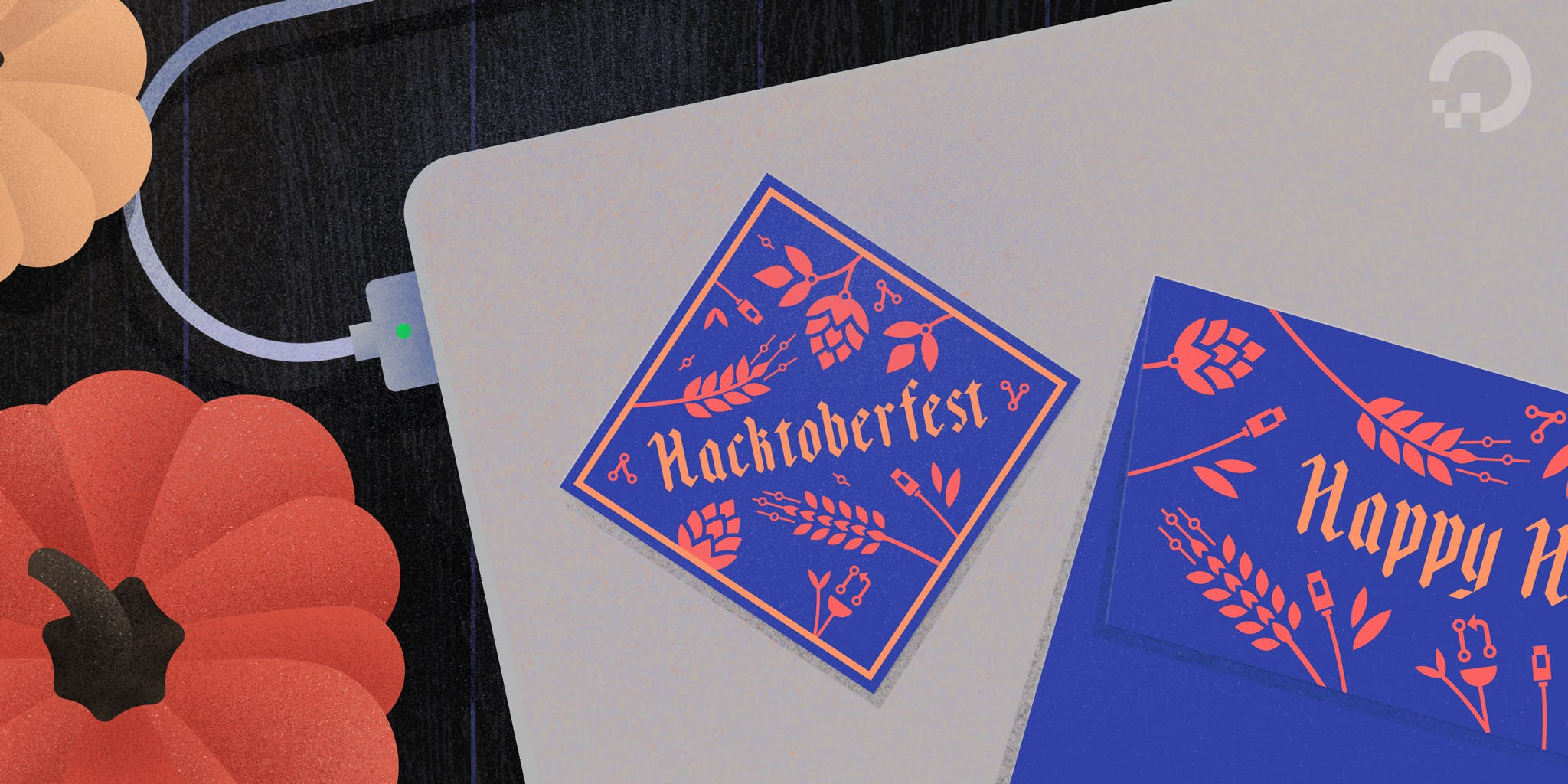 Hacktoberfest sticker on laptop illustration