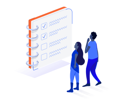 Two people looking at notebook checklist